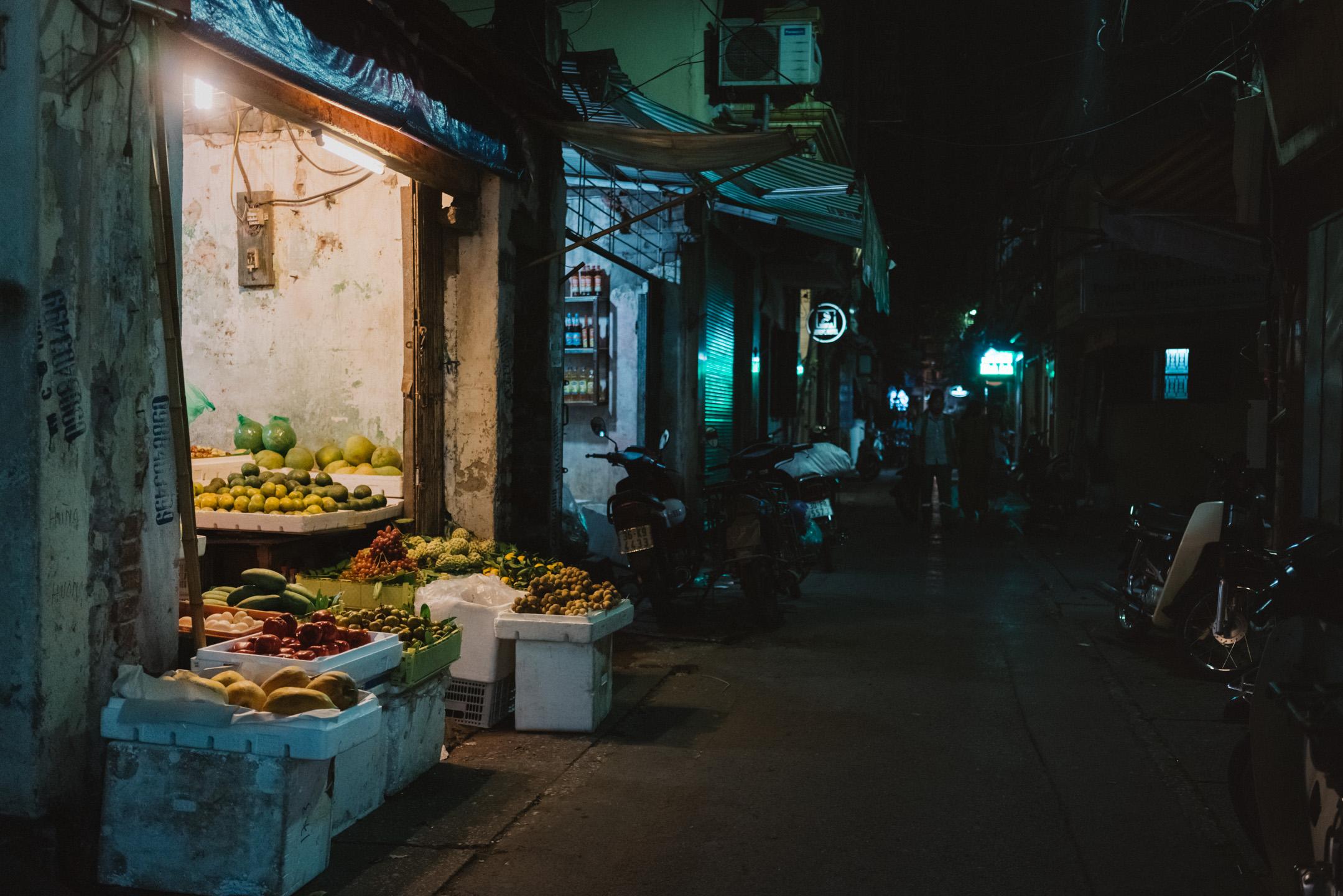 Dark street in Hanoi