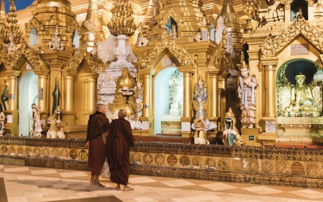Morning chat at Shwedagon pagoda