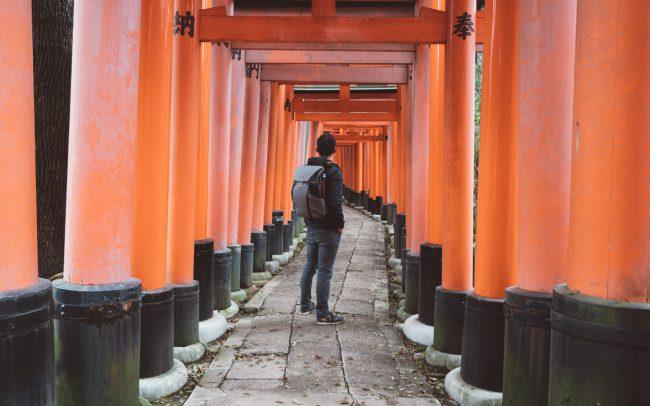 self portrait at Torii gate kyoto [David Tan]
