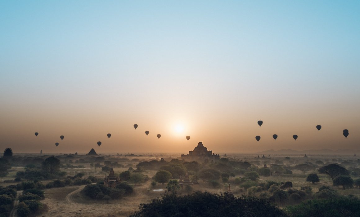 Bagan sunrise landscape with hot air balloon [David Tan]