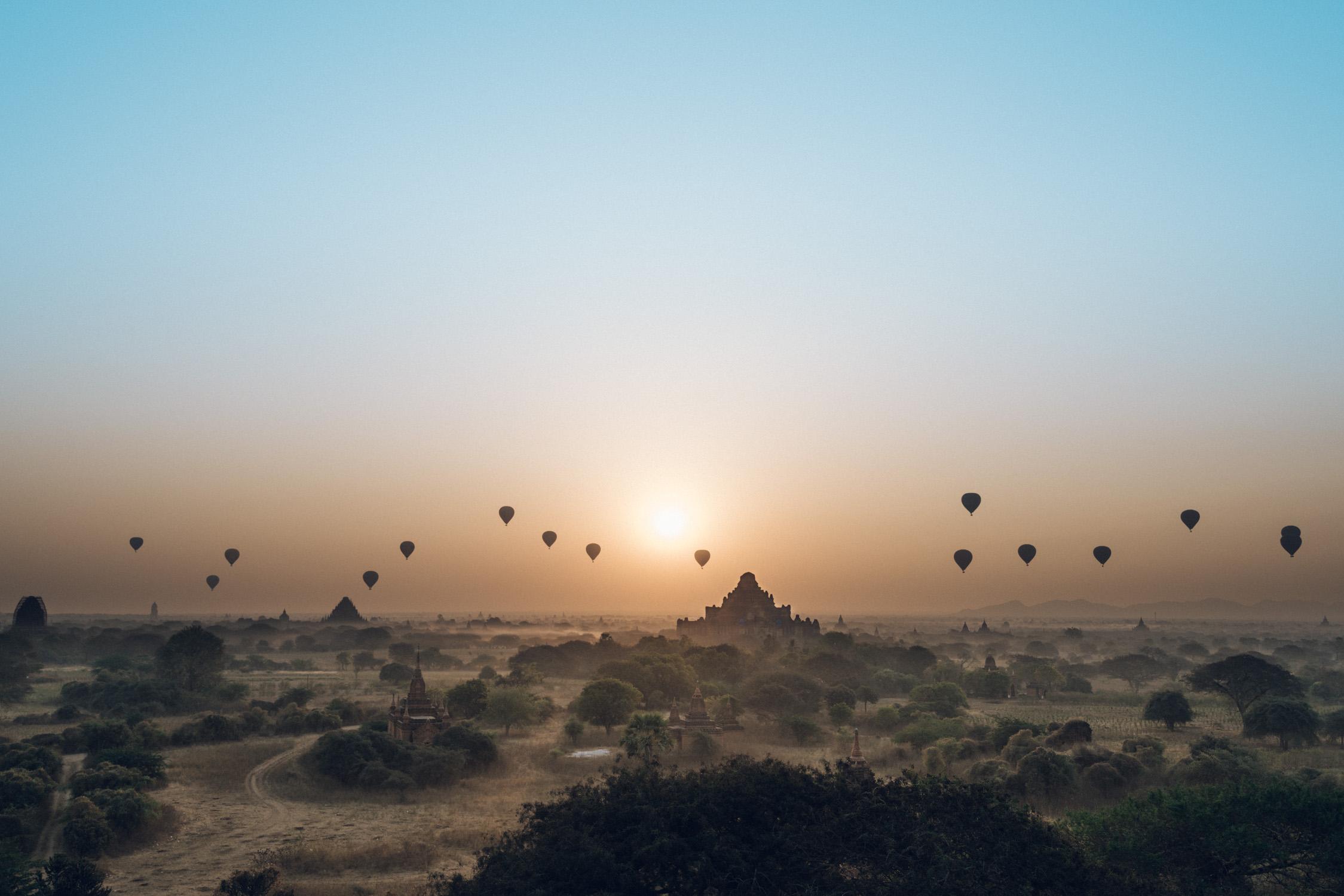 Bagan sunrise landscape with hot air balloon [David Tan]