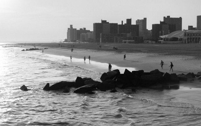 Coney island beach black and white [David Tan]