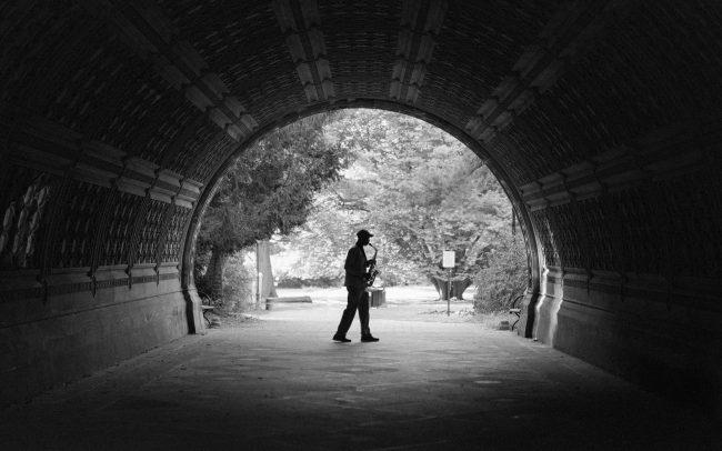 Saxophone player prospect park [David Tan]